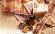 金融系列硬币与钞票 静物壁纸