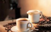 香浓咖啡与咖啡豆壁纸 静物壁纸