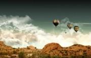 山脉 氢气球 壁纸41600x1200 山脉氢气球 精选壁纸