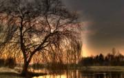 夕阳湖畔 精选壁纸