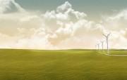 超漂亮极美白云与草地壁纸 其他壁纸