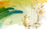 艺术风格花卉图案插画设计壁纸 其他壁纸