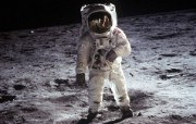 One Giant Leap for Mankind Buzz Aldrin on the Moon 奥尔德林在月球表面 阿波罗11号登月40周年纪念壁纸 人文壁纸