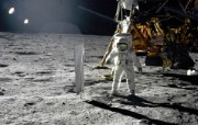 One Giant Leap for Mankind Aldrin Next to Solar Wind Experiment 奥尔德林进行太阳风实验 阿波罗11号登月40周年纪念壁纸 人文壁纸