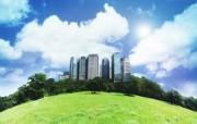 城市与绿化 环保主题设计壁纸 阳光 蓝天 都市 绿色都市合成壁纸 城市绿化主题PS壁纸 人文壁纸
