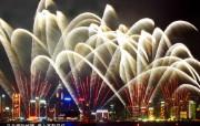 东西文化交融的动感都市 香港特色旅游壁纸 维多利亚港绽放璀璨烟火 节日气氛浓厚 桌面壁纸 东西文化交融的动感都市香港特色旅游壁纸 人文壁纸