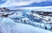 冰岛黄金瀑布图片 结冰的黄金瀑布Gulfoss 图片 HDR 冰岛风光宽屏壁纸 人文壁纸
