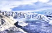 结冰的黄金瀑布Gulfoss 冰岛黄金瀑布Gulfoss图片 HDR 冰岛风光宽屏壁纸 人文壁纸