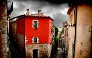 HDR 西班牙城市映像 赫罗纳的红房子 西班牙 Girona 赫罗纳城市风景 HDR 西班牙城市映像 人文壁纸