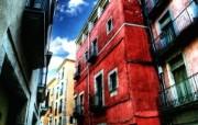 HDR 西班牙城市映像 红房子 西班牙 Girona 赫罗纳城市风景 HDR 西班牙城市映像 人文壁纸