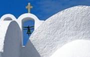 希腊圣多里尼岛 教堂一角壁纸 文化之旅地理人文景观壁纸精选 第二辑 人文壁纸