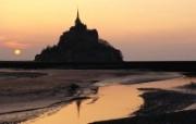 法国诺曼底 日落中的圣米歇尔山壁纸 文化之旅地理人文景观壁纸精选 第二辑 人文壁纸
