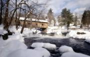 文化之旅 地理人文景观壁纸精选 第一辑 Waterloo Bridge New Hampshire 新罕布什尔州 雪中廊桥图片壁纸 文化之旅地理人文景观一 人文壁纸