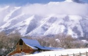 白雪覆盖的谷仓壁纸 文化之旅地理人文景观一 人文壁纸