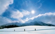 温泉与滑雪瑞士冬季旅游景点壁纸 人文壁纸