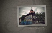西伯利亚风情古老的木房子一 人文壁纸