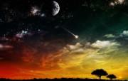 暗黑里的绚彩世界漂亮 设计壁纸