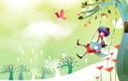 韩国矢量插画 缤纷奇幻乐园宽屏壁纸 壁纸25 韩国矢量插画:缤纷奇 设计壁纸