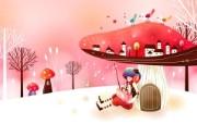 韩国矢量插画 缤纷奇幻乐园宽屏壁纸 壁纸27 韩国矢量插画:缤纷奇 设计壁纸
