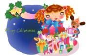 矢量圣诞女孩 设计壁纸