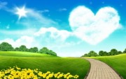 温馨家园 蓝天白云电 设计壁纸