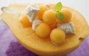 水果甜点 木瓜雪糕图片 餐桌上的水果水果甜点摄影一 摄影壁纸