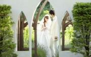 新娘新郎 花园里的白色婚礼摄影壁纸 花园里的白色婚礼婚纱摄影壁纸 摄影壁纸