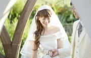 白色新娘 花园里的婚礼图片 花园里的白色婚礼婚纱摄影壁纸 摄影壁纸