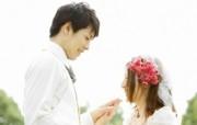 幸福小夫妻 花园里的白色婚礼 婚纱摄影壁纸图片壁纸 我们结婚吧 摄影壁纸