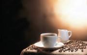 香浓咖啡与咖啡豆 摄影壁纸