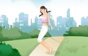 女性休闲运动 2 7 女性休闲运动 矢量壁纸