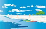矢量夏日海滩 1 3 矢量夏日海滩 矢量壁纸