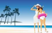 矢量海滩女孩 2 11 矢量海滩女孩 矢量壁纸