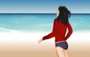 矢量海滩女孩 2 1 矢量海滩女孩 矢量壁纸