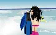 矢量海滩女孩 1 17 矢量海滩女孩 矢量壁纸