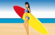 矢量海滩女孩 1 16 矢量海滩女孩 矢量壁纸