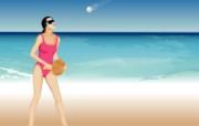 矢量海滩女孩 1 9 矢量海滩女孩 矢量壁纸
