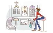 时尚购物女性 3 1 时尚购物女性 矢量壁纸