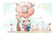 小情侣情人节爱情宽屏卡通壁纸 壁纸5 小情侣情人节爱情宽屏 系统壁纸