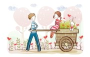 小情侣情人节爱情宽屏卡通壁纸 壁纸8 小情侣情人节爱情宽屏 系统壁纸