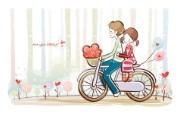 小情侣情人节爱情宽屏卡通壁纸 壁纸9 小情侣情人节爱情宽屏 系统壁纸