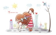 小情侣情人节爱情宽屏卡通壁纸 壁纸15 小情侣情人节爱情宽屏 系统壁纸