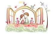小情侣情人节爱情宽屏卡通壁纸 壁纸25 小情侣情人节爱情宽屏 系统壁纸
