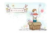 小情侣情人节爱情宽屏卡通壁纸 壁纸27 小情侣情人节爱情宽屏 系统壁纸
