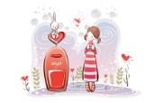 小情侣情人节爱情宽屏卡通壁纸 壁纸31 小情侣情人节爱情宽屏 系统壁纸