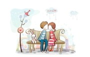 小情侣情人节爱情宽屏卡通壁纸 壁纸32 小情侣情人节爱情宽屏 系统壁纸