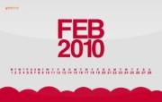 壁纸 2010年2月份宽屏月历 壁纸 2010年2月份月历 月历壁纸