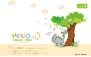 2009年4月月历 小天使婴童品牌卡通壁纸 小天使婴童品牌卡通月历 月历壁纸