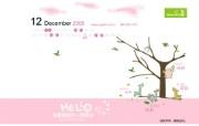 2009年12月月历 小天使婴童品牌卡通壁纸 小天使婴童品牌卡通月历 月历壁纸