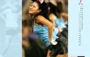 7月壁纸 啦啦队热舞桌面壁纸 YAHOO韩国七月月历壁纸 月历壁纸